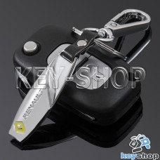 Металлический брелок для авто ключей Renault (Рено) с карабином и кожаными вставками