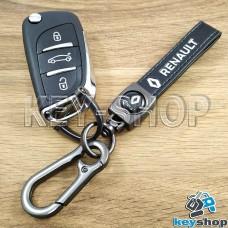 Брелок ключа Renault (Рено) кожаный (черный) с карабином