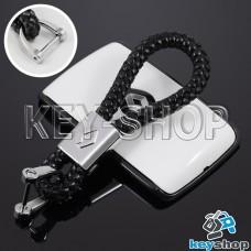 Кожаный плетеный (черный) брелок для авто ключей Renault (Рено)