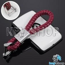 Кожаный плетеный (красный) брелок для авто ключей Renault (Рено)