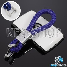 Кожаный плетеный (синий) брелок для авто ключей Renault (Рено)