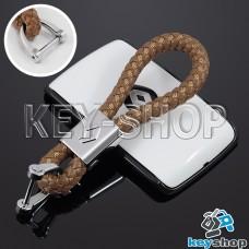 Кожаный плетеный (светло - коричневый) брелок для авто ключей Renault (Рено)