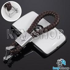 Кожаный плетеный (коричневый) брелок для авто ключей Renault (Рено)