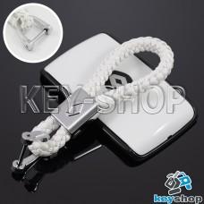 Кожаный плетеный (белый) брелок для авто ключей Renault (Рено)