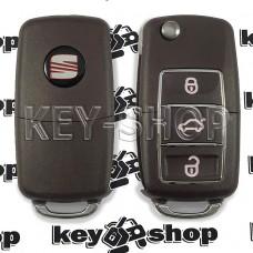 Корпус  выкидного ключа Seat (Сеат) (коричневый)  3 - кнопки, лезвие HU66, HU49