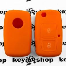 Чехол (оранжевый, силиконовый) для выкидного ключа Seat (Сеат) 2 кнопки