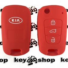 Чехол (красный, силиконовый) для выкидного ключа KIA (КИА) 3 кнопки