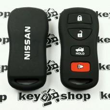 Чехол (черный, силиконовый) для пульта Nissan (Ниссан) 4 кнопки