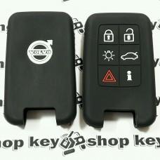 Чехол (черный, силиконовый) для смарт ключа Volvo (Вольво) 6 кнопок
