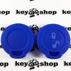 Чехол (синий, силиконовый) для авто ключа Mitsubishi (Митсубиси) 2 кнопки