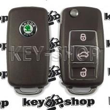 Корпус выкидного автоключа SKODA (шкода) (коричневый) 3 - кнопки, лезвие HU66, HU49