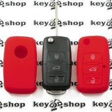 Чехол (красный, силиконовый) для выкидного ключа Skoda (Шкода) 3 кнопки