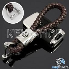 Кожаный плетеный (коричневый) брелок для авто ключей Шкода (Skoda)