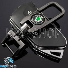 Брелок для ключа Skoda (Шкода), (темный хром), с карабином
