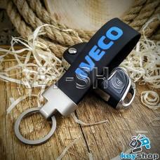 Брелок для авто ключей Iveco (Ивеко) кожаный (черный) с матовым кольцом