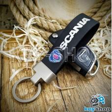 Брелок для авто ключей Scania (Скания) кожаный (черный) с матовым кольцом