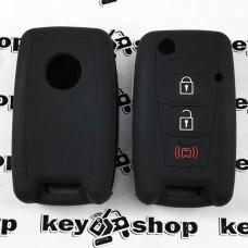 Чехол (черный, силиконовый) для выкидного ключа SsangYong (СсангЙонг) 3 кнопки