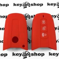 Чехол (красный, силиконовый) для смарт ключа SsangYong (СсангЙонг) 3 кнопки