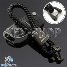 Кожаный плетеный (черный) брелок для авто ключей SsangYong (Ссанг-Йонг)