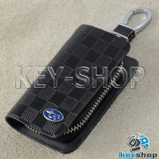 Ключница карманная (кожаная, черная, с тиснением, на молнии, с карабином, с кольцом), логотип авто Subaru (Субару)