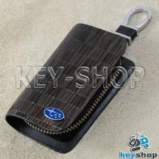 Ключница карманная (кожаная, коричневая, с тиснением, на молнии, с карабином, с кольцом), логотип авто Subaru (Субару)