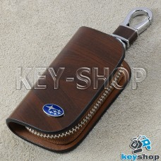 Ключница карманная (кожаная, коричневая, с узором, на молнии, с карабином, с кольцом), логотип авто Subaru (Субару)