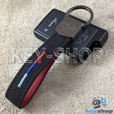 Кожаный замшевый (черный) брелок для авто ключей с логотипом Subaru (Субару) и хромированным карабином