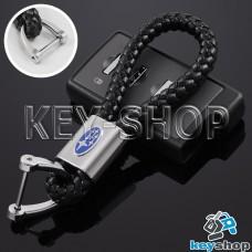 Кожаный плетеный (черный) брелок для авто ключей Субару (Subaru)