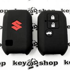 Чехол (черный, силиконовый) для смарт ключа Suzuki (Сузуки) 3 кнопки