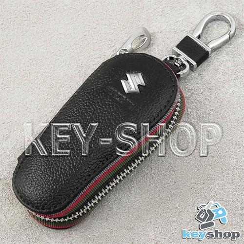 Ключница карманная (кожаная, черная, на молнии, с карабином, с кольцом), логотип авто Suzuki (Сузуки)