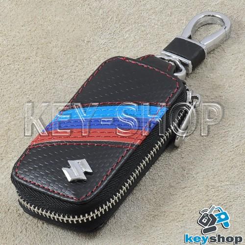 Ключница карманная (кожаная, черная, под карбон, на молнии, с карабином, с кольцом), логотип авто Suzuki (Сузуки)