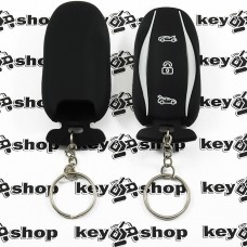 Чехол (черный, силиконовый, с кольцом) для смарт ключа Tesla (Тесла) 3 кнопки