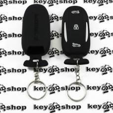 Чехол (черный, силиконовый, с кольцом) для смарт ключа Tesla model X (Тесла модель Х) 3 кнопки