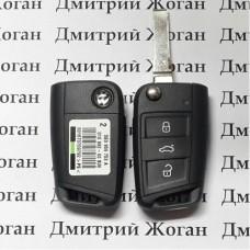 Выкидной ключ Volkswagen (Фольксваген) 3 кнопки, 5GO959753BA, чип ID49 /433 MHz