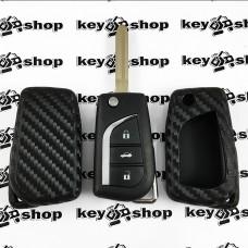Чехол (силиконовый, под карбон) для выкидного ключа Toyota (Тойота)