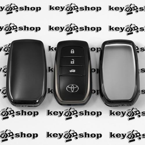 Чехол (черный, полиуретановый) для смарт ключа Toyota (Тойота), кнопки без защиты