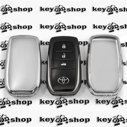 Чехол (серебристый, полиуретановый) для смарт ключа Toyota (Тойота), кнопки без защиты