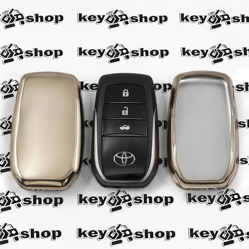 Чехол (золотистый, полиуретановый) для смарт ключа Toyota (Тойота), кнопки без защиты