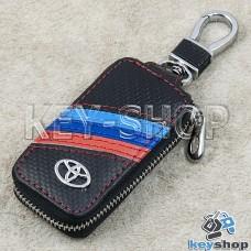 Ключница карманная (черная, кожаная, под карбон, на молнии, с карабином, с кольцом), логотип авто Toyota (Тойота)