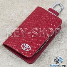 """Ключница карманная (красная, """"змеиная кожа"""", на молнии, с карабином, с кольцом), логотип авто Toyota (Тойота)"""