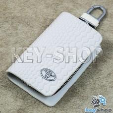 """Ключница карманная (белая, """"змеиная кожа"""", на молнии, с карабином, с кольцом), логотип авто Toyota (Тойота)"""