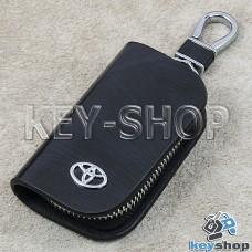 Ключница карманная (кожаная, черная, с узором, на молнии, с карабином, с кольцом), логотип авто Toyota (Тойота)