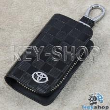 Ключница карманная (кожаная, черная, с тиснением, на молнии, с карабином, с кольцом), логотип авто Toyota (Тойота)