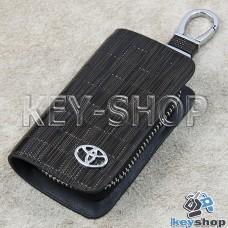 Ключница карманная (кожаная, коричневая, с тиснением, на молнии, с карабином, с кольцом), логотип авто Toyota (Тойота)