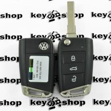 Оригинальный выкидной ключ Volkswagen (Фольксваген) 3 кнопки, 5G6959753AG, чип ID49 / 433 MHz (Keyless-go)