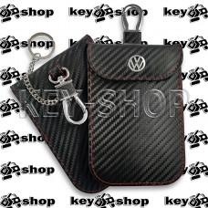 Чехол Фарадея, антисканер, противоугонный чехол Volkswagen (Фольксваген) (кожаный, под карбон, черный, на липучке, с карабином, с кольцом)
