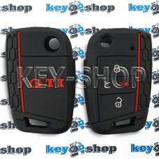 Чехол на ключ Volkswagen GTI (Фольксваген), (черный, силиконовый), 3+1 кнопки