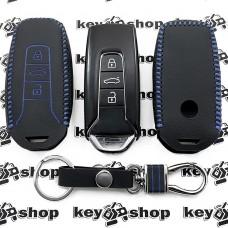 Кожаный чехол (с синей строчкой), для смарт ключа VOLKSWAGEN Touareg (Фольксваген Туарег) 3 кнопки, тип 1