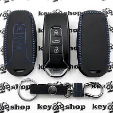 Кожаный чехол (с синей строчкой), для смарт ключа VOLKSWAGEN Touareg (Фольксваген Туарег) 3 кнопки, тип 2