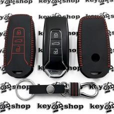 Кожаный чехол (с красной строчкой), для смарт ключа VOLKSWAGEN Touareg (Фольксваген Туарег) 3 кнопки, тип 1
